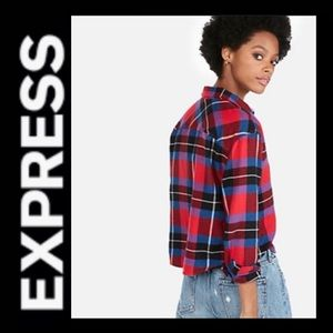 NWT EXPRESS Cropped Flannel Shirt